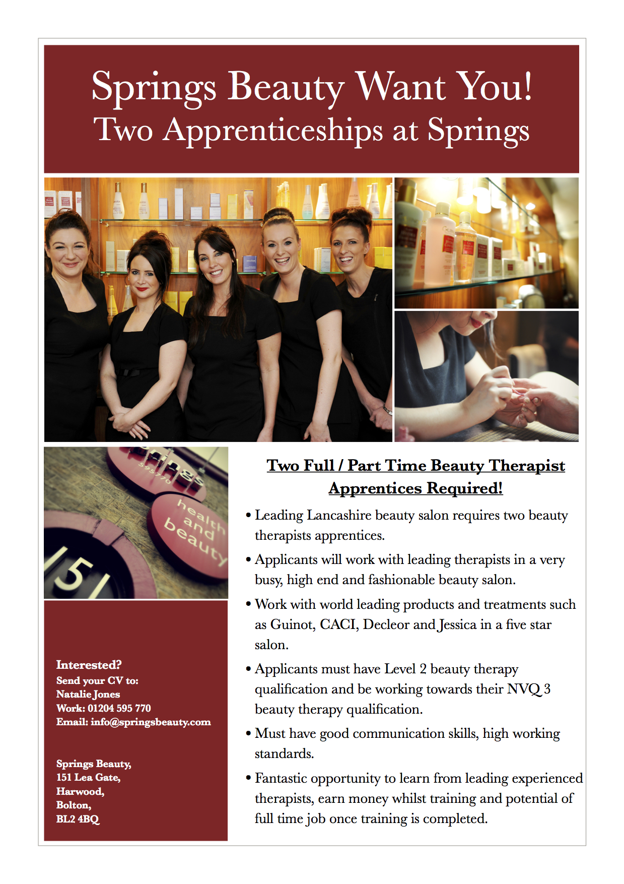 Springs Beauty seeks two beauty therapy apprentices